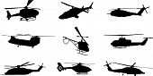 stock photo of helicopters  - vector silhouette of different helicopters on a white background - JPG