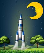 image of landforms  - Illustration of a rocket going to the sky with a sleeping moon - JPG