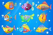 Illustration of an ocean with nine colorful fishes