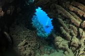image of cave  - Underwater cave and scuba diver - JPG