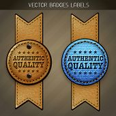jeans and leather authentic quality label design vector