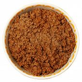 Bowl of Cooked Ground Beef Over White Background