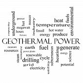 Geothermal Power Word Cloud Concept In Black And White