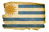 Uruguaian Flag Old, Isolated On White Background