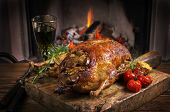 image of barbary duck  - duck roasted with apple - JPG
