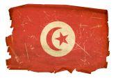 Tunisia Flag Old, Isolated On White Background.
