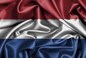 stock photo of holland flag  - Satin flag three dimensional render flag of the Netherlands - JPG
