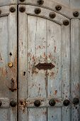 Vintage Door With Handle And Letterbox Slot In The House Antigua Guatemala