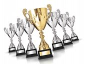 image of trophy  - Golden trophy among many silver trophies - JPG