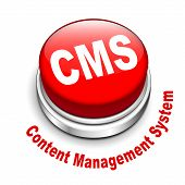 3D Illustration Of Cms (content Management System) Button