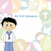 stock photo of communion  - Boy first communion card - JPG