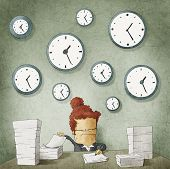 Businesswoman drowning in paperwork. Clocks on wall