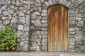 image of front door  - Wooden door in an old wall - JPG