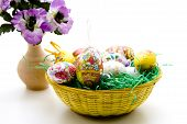 Easter basket with Easter grass
