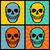 image of scalping  - Four illustrations with skulls on pop art background - JPG