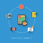 Plan it. Do it. Share it. - Flat Design Concept