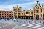 VALENCIA, SPAIN - JANUARY 14, 2014: City plaza and North Station - main railway station in Valencia,