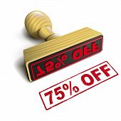 Stamp 75% Off With Red Text On White