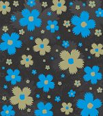 Blue and gold flowers
