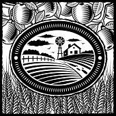 schwarz und Weiß Retro farm