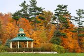 pic of gazebo  - Inviting gazebo in park with nice view to the forest - JPG