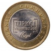 stock photo of lira  - 1 Turkish lira commemorative coin 2012 face - JPG