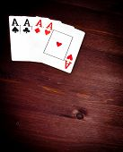 Four Aces Cards With Space For Text, Concept Of Poker Game Texas
