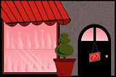 Store Front with Red Awning and Bottles in Window