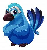 stock photo of angry bird  - Illustration of a big blue bird on a white background - JPG