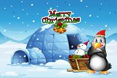 pic of igloo  - Illustration of a snowman and a penguin in front of the igloo - JPG