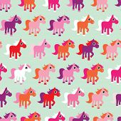 Seamless little pony horse illustration kids background pattern in vector