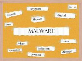 image of malware  - Malware Corkboard Word Concept with great terms such as digital attack virus and more - JPG