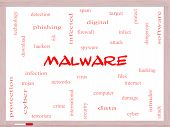 stock photo of malware  - Malware Word Cloud Concept on a Whiteboard with great terms such as trojan virus infection and more - JPG