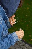 Sad Teenager With Cigarette