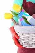Housewife holding basket with cleaning equipment. Conceptual photo of spring cleaning. Isolated on w