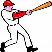 image of hitter  - Illustration of an american baseball player batter hitter batting with bat done in cartoon style isolated on white background - JPG