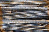 Close-up Of Rusty High Tensile Deformed Steel Bar