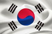 stock photo of hangul  - flag of South Korea waving in the wind - JPG