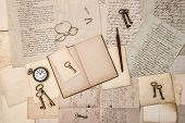 Open Book, Vintage Accessories, Old Letters