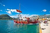 HAKIDIKI, GREECE-JUNE 2, 2014: Touristic sailing boat in Nydri, Greece.on June 2, 2014. Touristic sh