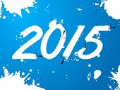 Blue Wallpaper With 2015 Text And Splatters