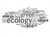 High resolution concept or conceptual abstract green ecology and conservation word cloud text on whi