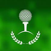 golf symbol green blurred background