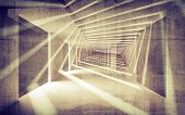 Abstract Concrete 3D Interior Perspective With Light Beams