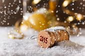 image of christmas party  - New Year concept with champagne cork in snow - JPG