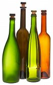 Colored Empty Closed Wine Bottles