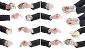 Set Of Banknotes In Businessman Hands