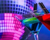 Blue Cocktail With Sparkling Disco Ball Background With Space For Text Selected Focus