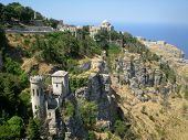panoramic view of three ancient fortresses of Erice town, Sicily, Italy