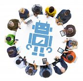 Group of People Using Digital Devices with Robot Symbol